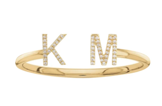 Double Initial Personalized Ring