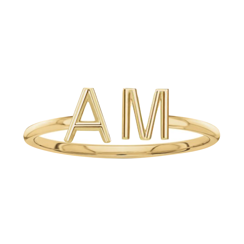 Solid Initials Cuff Ring