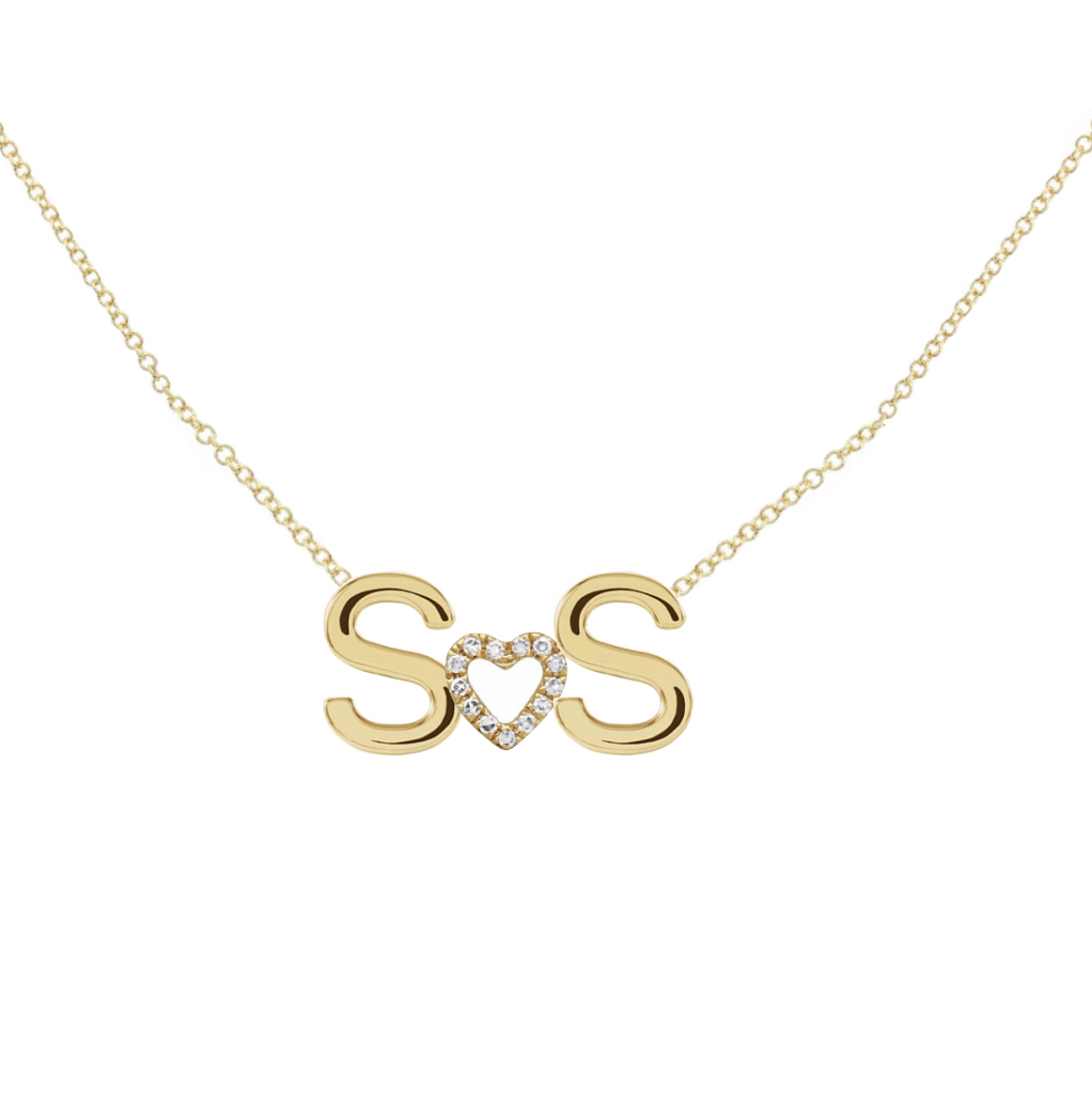 2 Solid Initials and Middle Charm Custom Necklace