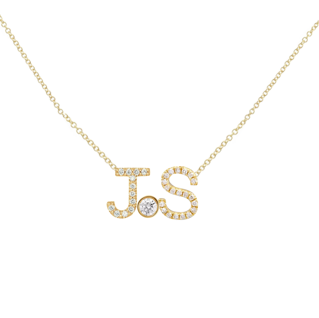 2 Diamond Initials and Middle Charm Custom Necklace