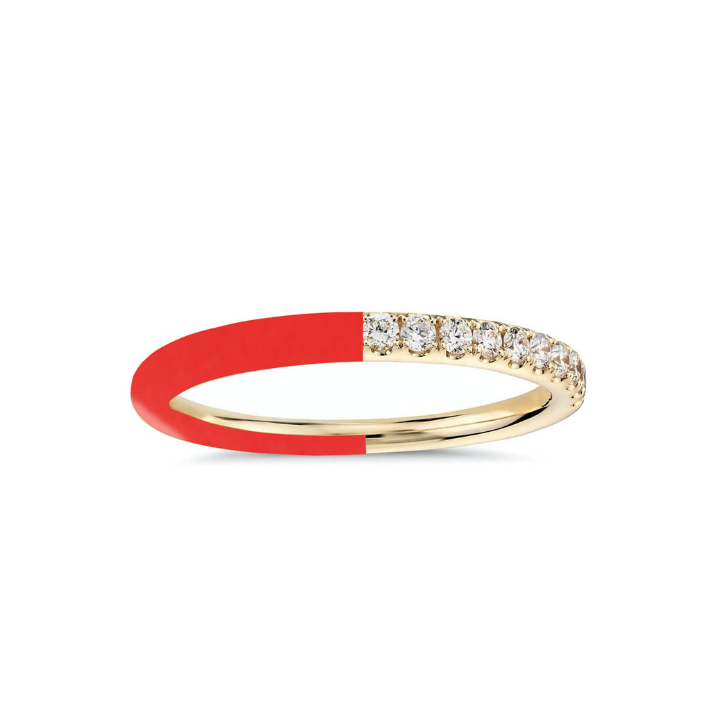 Half and Half Enamel Diamond Band