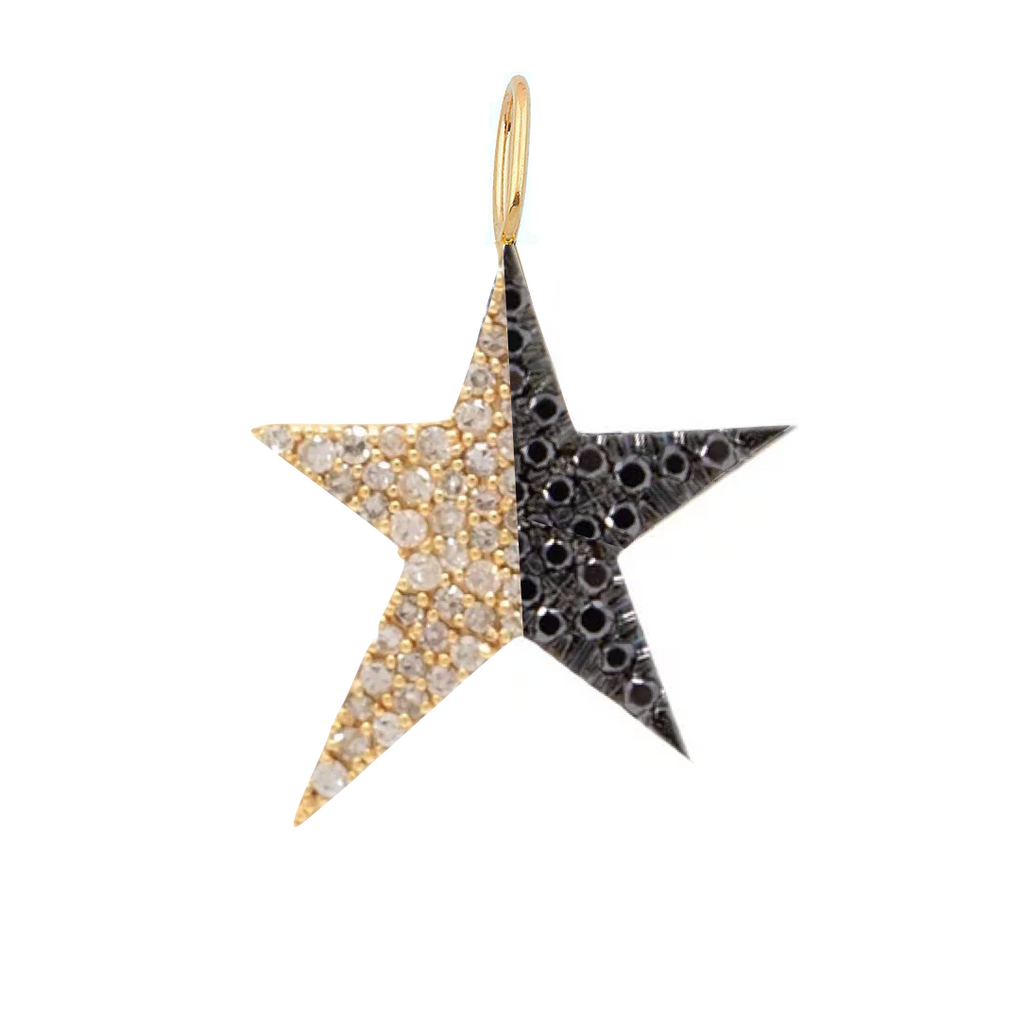 Half Diamond Half Gemstone Pave Star Charm