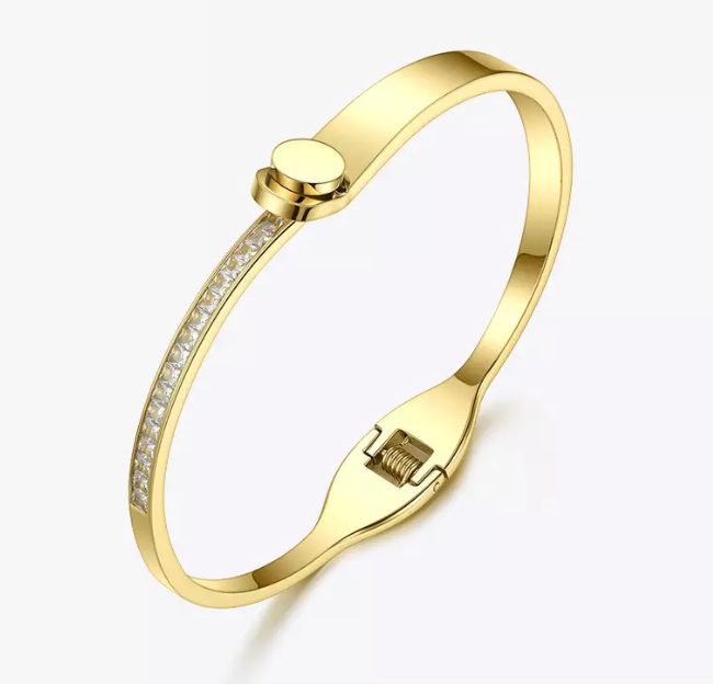 Diamond Gold button Bangle - rockyourvnd
