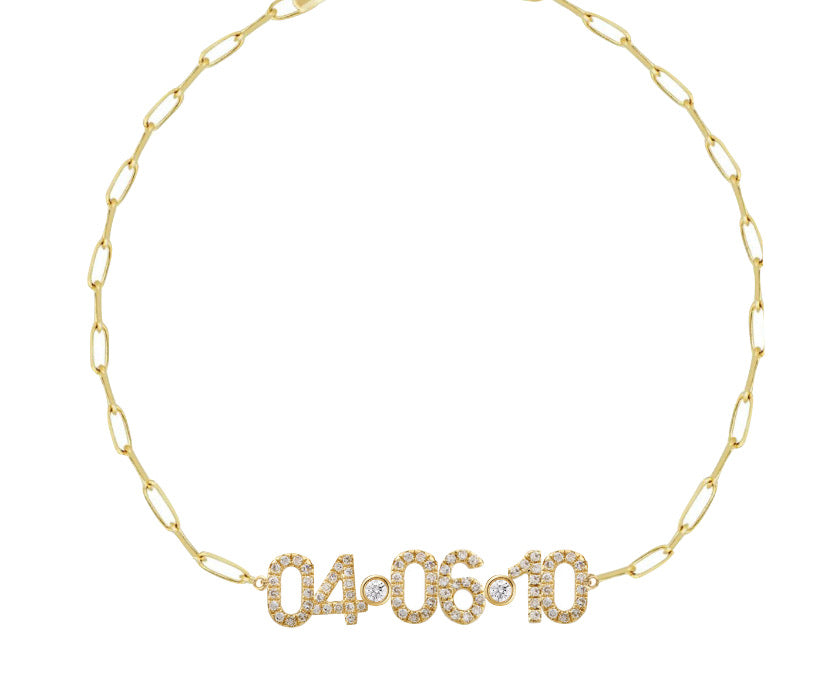Date Bracelet with Thin Paperclip chain