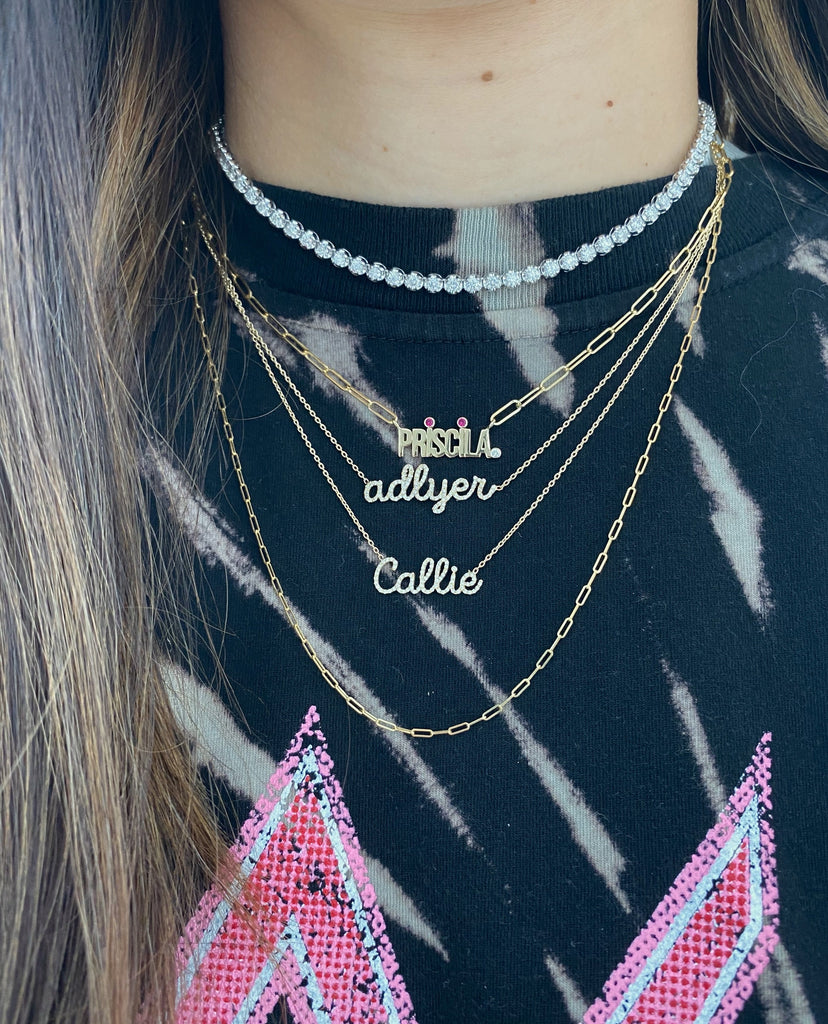 Custom Solid Gold Name on PaperClip Necklace