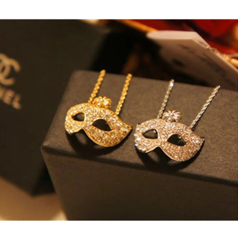 Gold or Silver Iced Mask Necklace - Dux LA