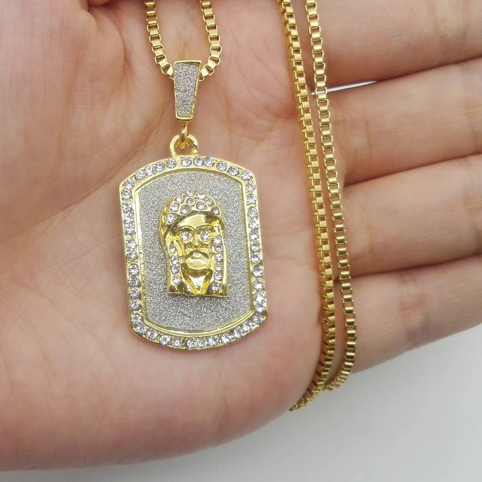 Jesus Piece Dog Tag Chain - Dux LA