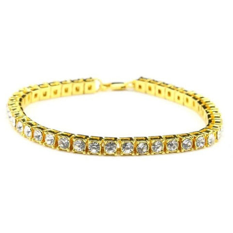 14k gold plated iced out mens bracelet