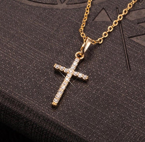 Pure Titanium Crystal Cross Necklace - Dux LA