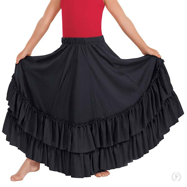 SOLID SKIRT W/ SOLID DOUBLE RUFFLE - Niña