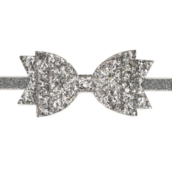 Silver Glitter Bow Soft Headband