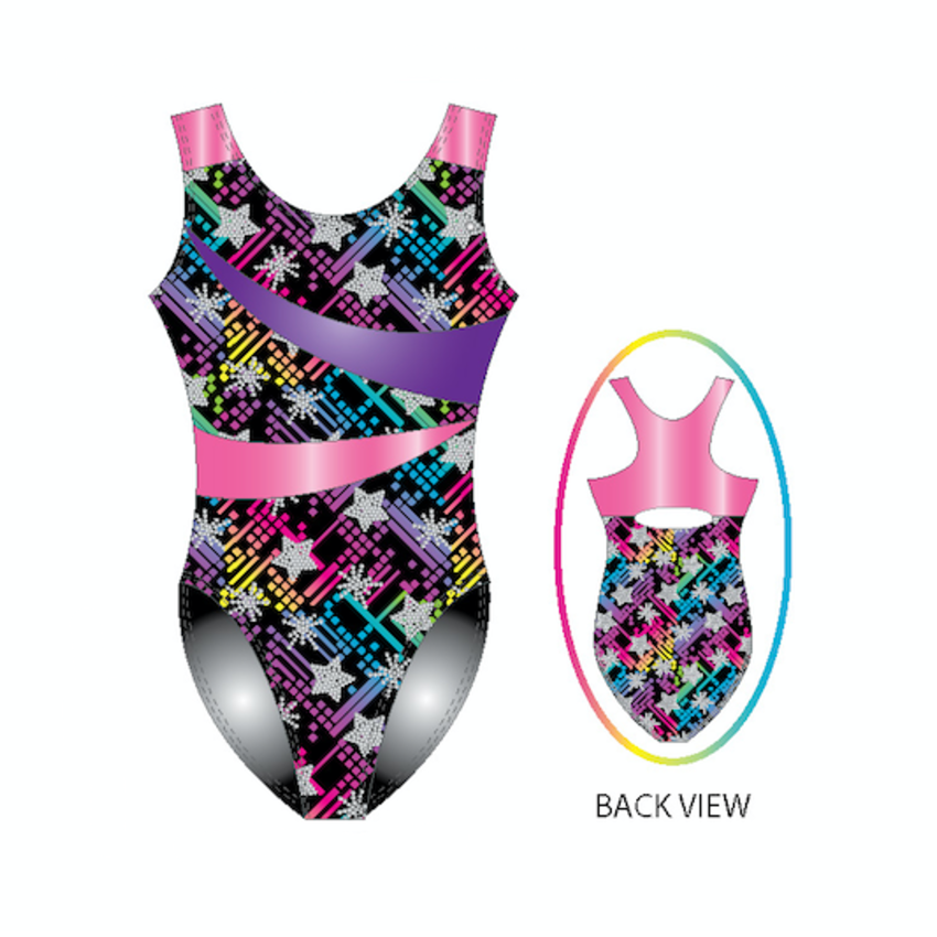 Printed tank color blocked leotard