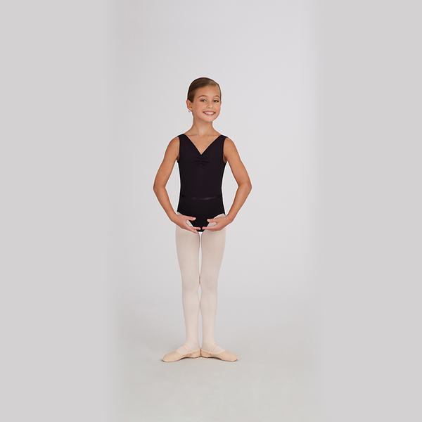 Neck Pinch Front Leotard w/Belt - Niña
