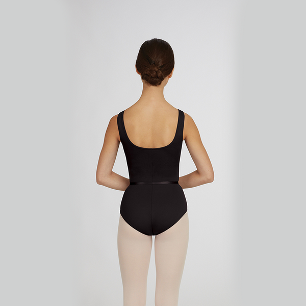 Neck Pinch Front Leotard w/Belt - Adulto