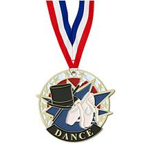 DANCE MEDAL - 2 inches COLORFUL DANCE MEDAL WITH NECK RIBBON
