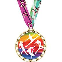 "DANCE MEDAL - 2 1/2 inches SPORTS STAR SERIES MEDAL WITH 30"" NECK RIBBON"