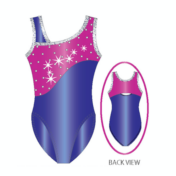 Snake Skin Dots Gymnastics Color Blocked Tank Leotard With Silver Rhinestuds