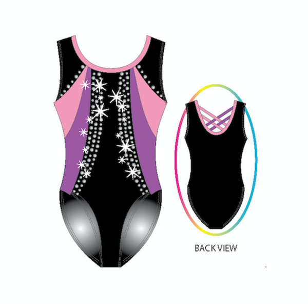 Shiny Swirls Gymnastics Printed Tank Color Blocked Leotard With Silver Rhinestuds