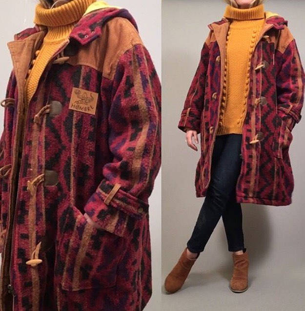 77d4f919757 Vintage 90s oversized Hombre hooded mexican toggle coat – D.T.V