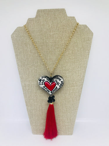Handpainted white & red heart necklace