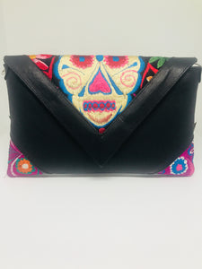 Embroidered sugar skull handbag