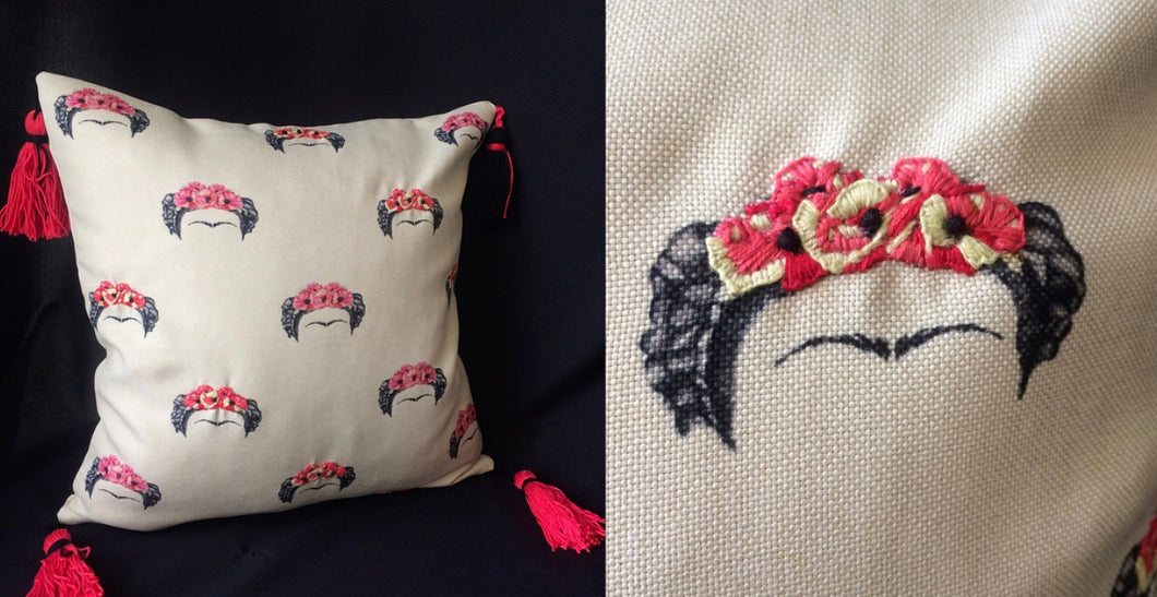 Frida's hand embroidered cushion/pillow casw