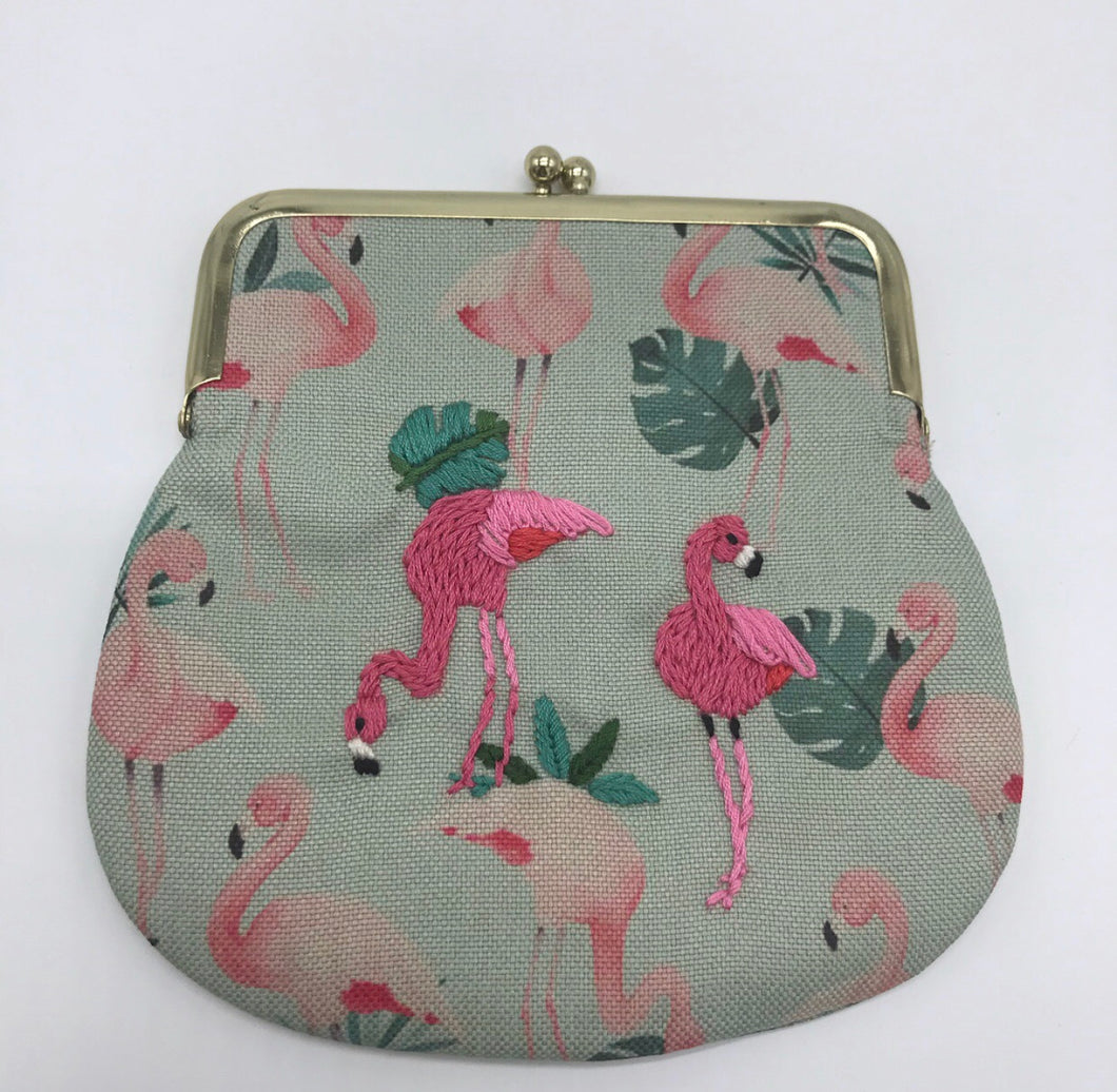 Large embroidered pink flamingos coin purse