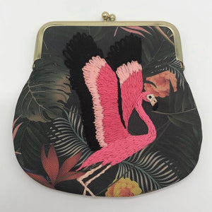 Large embroidered flamingo coin purse