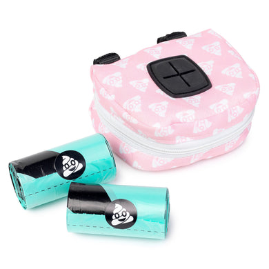 Poop Bag Dispenser & Rolls - Pink Emoji