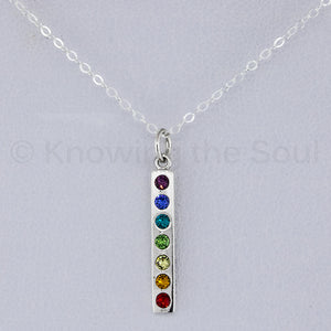 "Sterling Silver Chakra Pendant with Swarovski Crystals - includes 18"" Neck Chain"