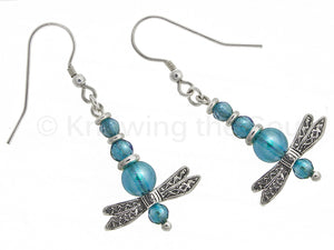 Sterling Silver Dragonfly Earrings with Aqua Aura