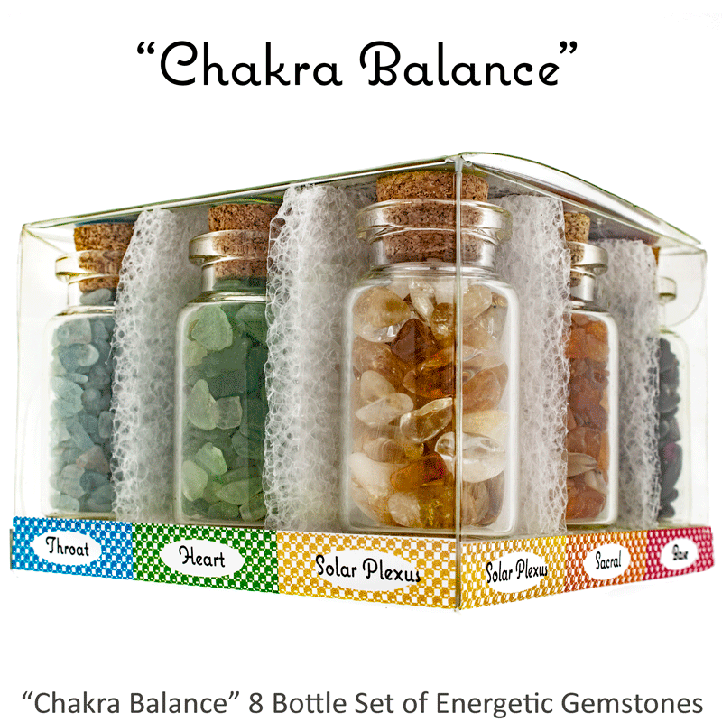 "Ask Your Pendulum - 8-Bottle set of polished, naturally energetic gemstones ""Chakra Balance"""