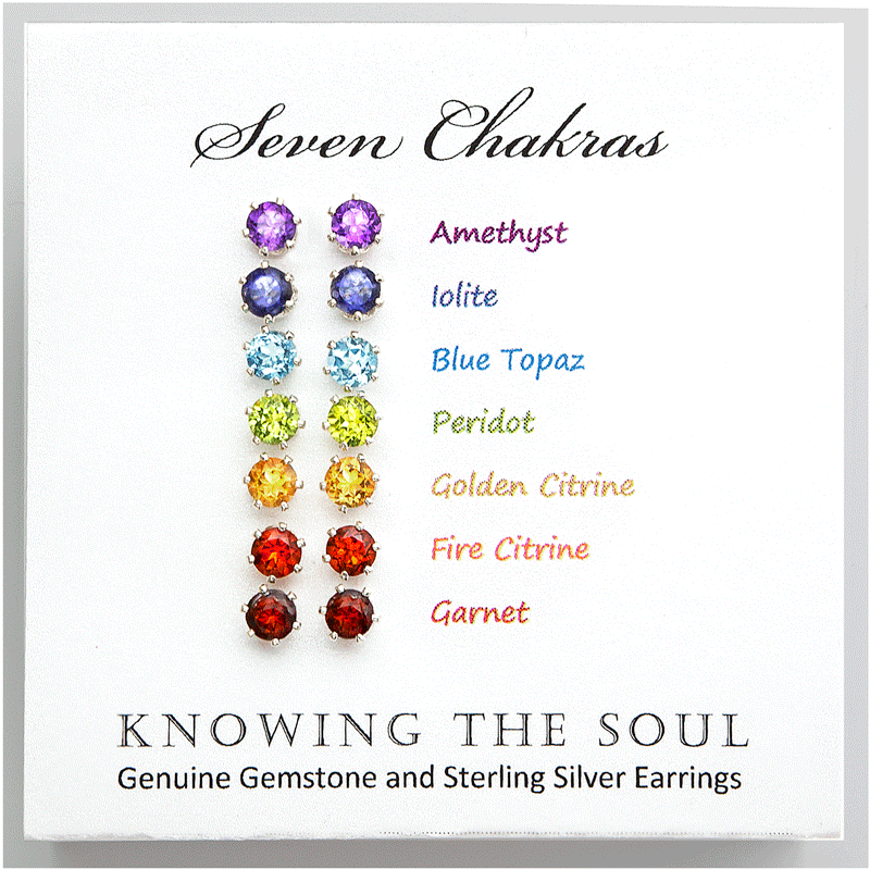 Set of Seven Chakra Gemstone and Sterling Silver Stud Earrings