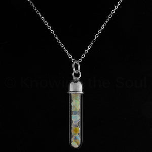 Ethiopian Opal Vial-Wand Pendant with Sterling Silver Neck Chain