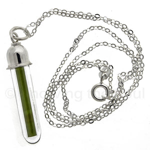 Green Tourmaline Vial Pendant with Sterling Silver Neck Chain