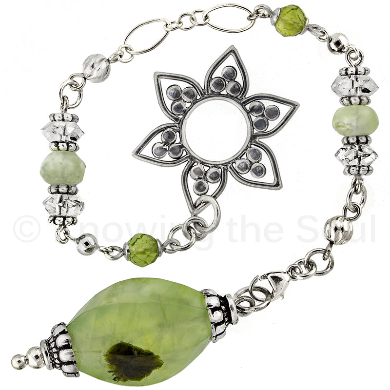 ask-your-pendulum - Healing Light - Prehnite, Quartz, Peridot, and Sterling Silver Pendulum