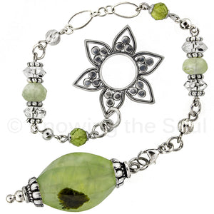 Healing Light - Prehnite, Quartz, Peridot, and Sterling Silver Pendulum