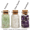 Ask Your Pendulum - 3-Bottle set of polished, naturally energetic gemstones - Prehnite, Clear Quartz, Amethyst