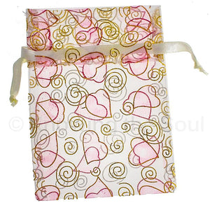 Hearts and Spirals Voile Drawstring Pouch