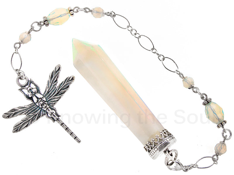 ask-your-pendulum - In Dragonfly Light - Opalite and Sterling Silver Pendulum