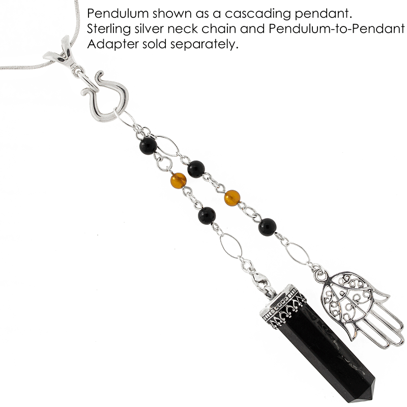"""In Protective Light"" Shungite, Amber, Jet and Sterling Silver Pendulum"