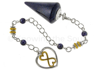 Infinity - Indigo Blue Goldstone and Sterling Silver Pendulum