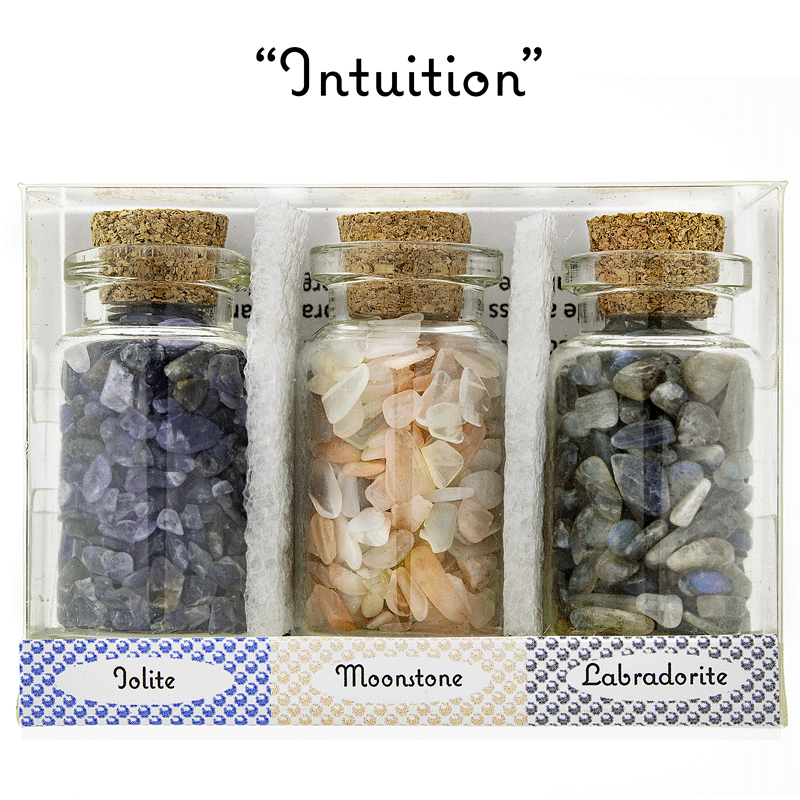 "Ask Your Pendulum - 3-Bottle set of polished, naturally energetic gemstones ""Intuition"""