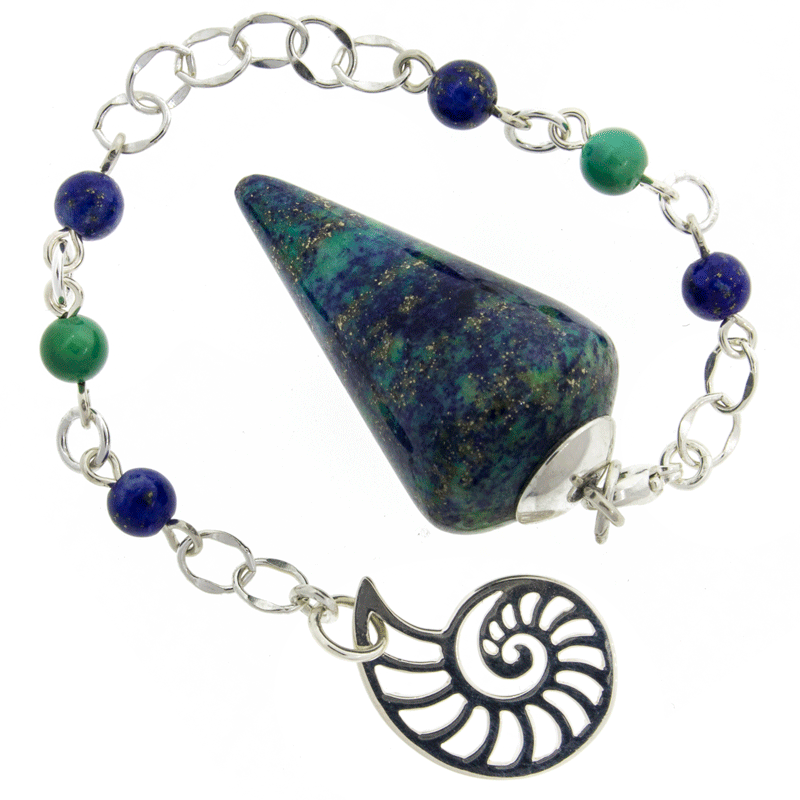 Journey of the Nautilus - Lapis Chrysocolla, Lapis Lazuli, Turquoise and Sterling Silver Pendulum