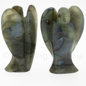 Carved Labradorite Angel Statuette