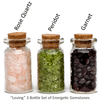 Ask Your Pendulum - 3-Bottle set of polished, naturally energetic gemstones - Rose Quartz, Peridot, and Garnet