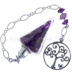 Nuggets of Wisdom - Amethyst and Sterling Silver Pendulum