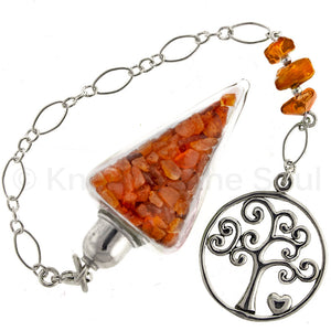 ask-your-pendulum - Nuggets of Wisdom - Carnelian and Sterling Silver Pendulum