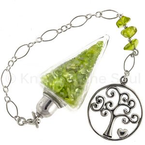 Nuggets of Wisdom - Peridot and Sterling Silver Pendulum