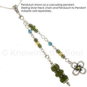 One of a Kind #114 - Moldavite, Aqua Aura, Welo Opal and Sterling Silver Pendulum